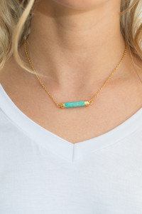 Natural Stone Bar Necklace - Turquoise