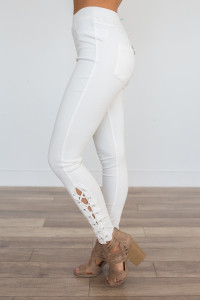 High Waisted Lace Up Jeggings - Off White