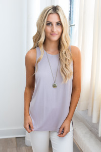 Split Side High Low Tank - Dusty Lilac