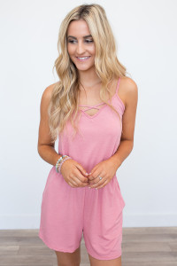 Solid Pocket Knit Romper - Rose