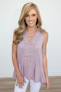 Crochet Front Sleeveless Top - Dusty Lilac