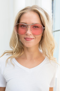 Retro Aviator Sunglasses - Pink - FINAL SALE