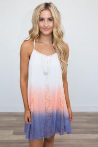 Dip Dye Lace Detail Dress - Ivory