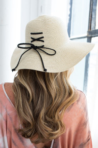 Lace Up Floppy Straw Hat - Natural/Black
