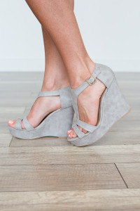 Kelsey T-Strap Suede Wedge - Grey - FINAL SALE