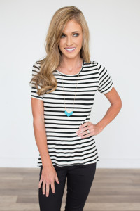 Striped Peplum Back Tee - Ivory/Black