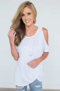 Cold Shoulder Knot Tee- Off White