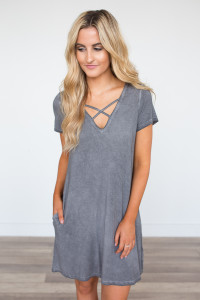 Acid Wash Strap Front Dress - Charcoal