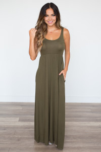 Solid Empire Waist Maxi Dress - Olive