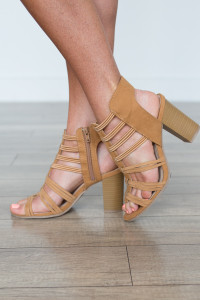Side Zip Strappy Heels - Camel - FINAL SALE