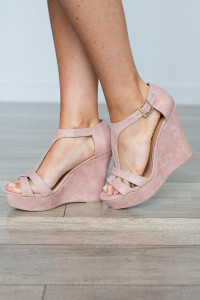 Kelsey T-Strap Suede Wedge - Blush