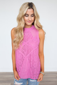 Mock Neck Sleeveless Lace Blouse - Pink