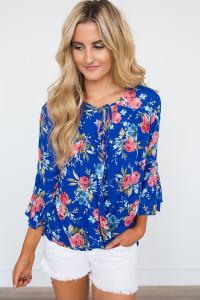 Floral Print Bell Sleeve Top - Blue Multi - FINAL SALE