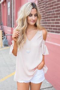 Smocked Drop Shoulder Blouse - Blush - FINAL SALE