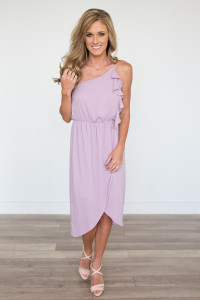 Everly One Shoulder Tulip Dress - Dusty Lilac - FINAL SALE