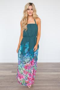 Everly Garden Party Maxi Dress - Evergreen - FINAL SALE
