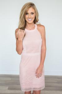 Crochet Lace Bodycon Dress - Blush - FINAL SALE