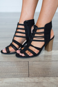 Side Zip Strappy Heels - Black
