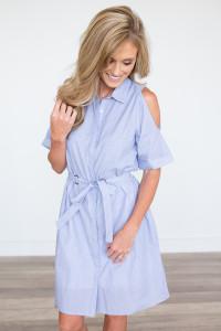 Cold Shoulder Shirt Dress - Blue