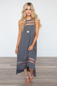 Crochet Mesh Detail Midi Dress - Charcoal