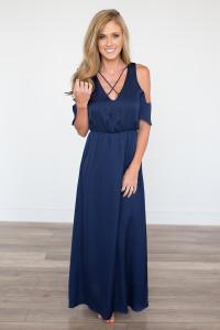 Everly Drop Shoulder Maxi Dress - Navy - FINAL SALE