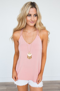 Strappy Back Knit Cami - Dusty Pink