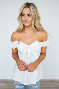 Smocked Off The Shoulder Blouse - White