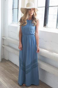 Crochet Lace Maxi Dress - Dusty Blue