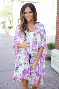 Crazy Daisy Floral Kimono - Purple/Pink - FINAL SALE