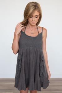 Ruffle Trim Knit Dress - Charcoal