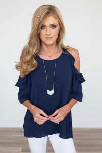 Cold Shoulder Ruffle Blouse - Navy