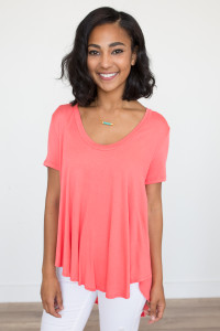 Short Sleeve High-Low Tee - Coral