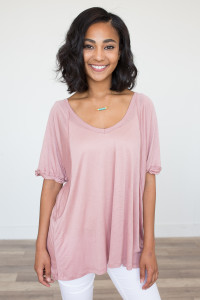 Rolled Sleeve High-Low Tunic - Dusty Rose - FINAL SALE