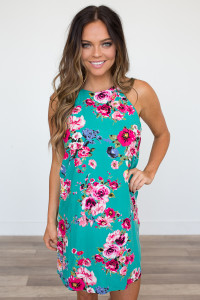 Everly Floral Print Shift Dress - Teal