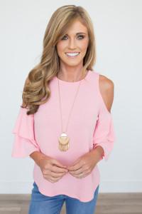 Cold Shoulder Knit Top - Light Pink
