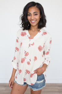 Floral Print V-Neck Tunic - Ivory