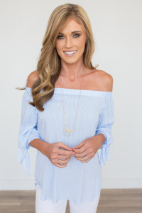 Striped Off The Shoulder Top - Blue/White