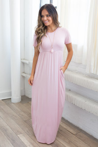Solid Short Sleeve Maxi Dress - Dusty Pink - FINAL SALE
