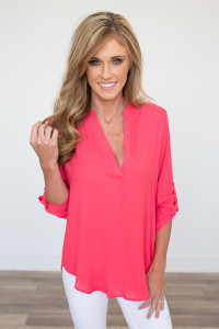 Solid V-Neck Roll Tab Blouse - Coral