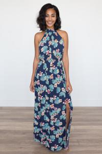 Tropical Halter Neck Maxi Dress - Navy