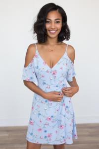 Floral Print Wrap Dress - Periwinkle - FINAL SALE
