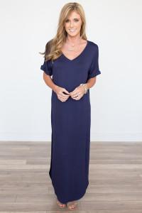 Nadine V-Neck Maxi Dress - Navy