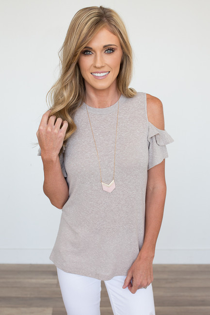 Cold Shoulder Ruffle Sleeve Tee - Taupe