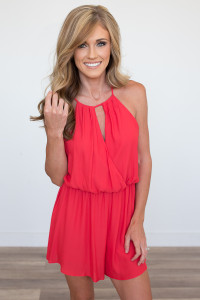 Keyhole Draped Front Romper - Candy Red