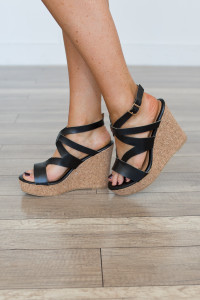 Chloe Cork Platform Wedge - Black