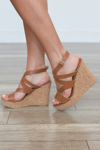 Chloe Cork Platform Wedge - Tan