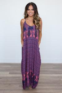 V-Neck Printed Maxi Dress - Coral/Navy