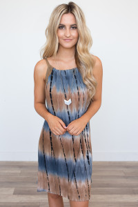 Tie Dye Lace Detail Dress - Navy/Brown