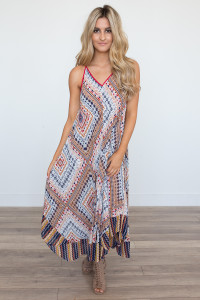 Strappy Back Mixed Print Maxi Dress - White Multi - FINAL SALE