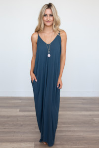 Mila Solid Pocket Maxi Dress - Dark Teal